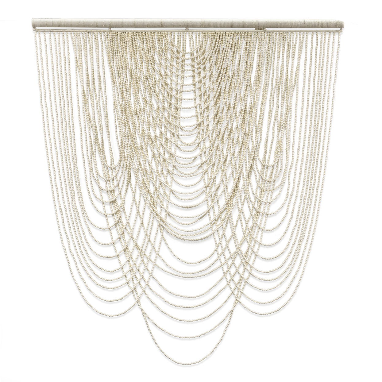 "White Beaded Wall Hanging  40x45""h  P139205"
