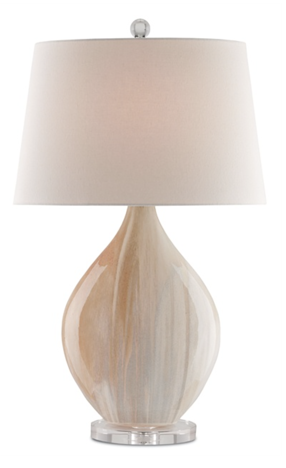 Opalescent Glass/Acrylic Table Lamp w/Linen Shade  19x10x32h  CC6111