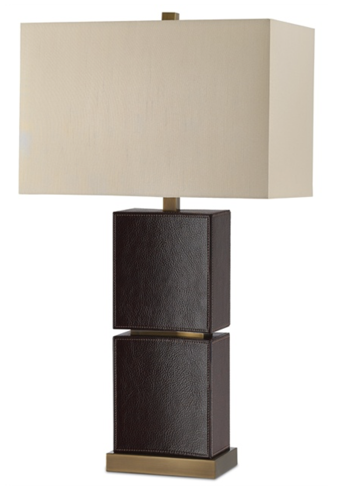 Dark Brown Leather/Brass Table Lamp w/Linen Shade  18x10x32h  CC60100