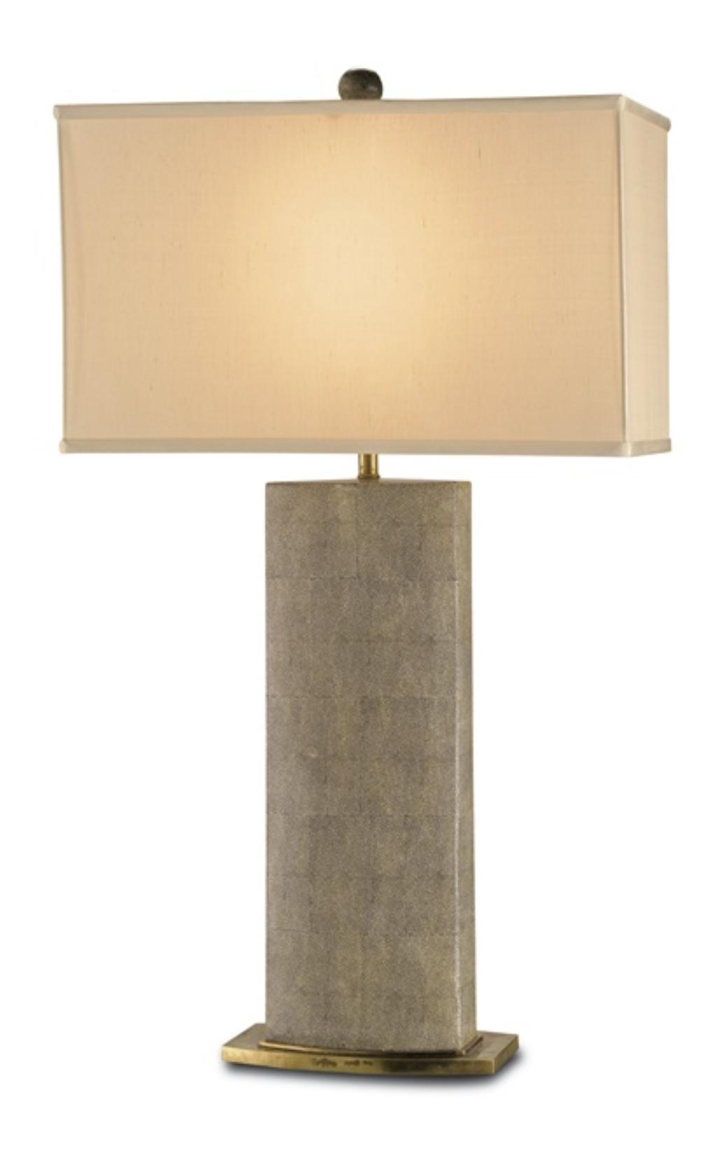 Shagreen Pattern Porcelain/Brass Table Lamp w/Silk Shade  19x10x33h  CC6355