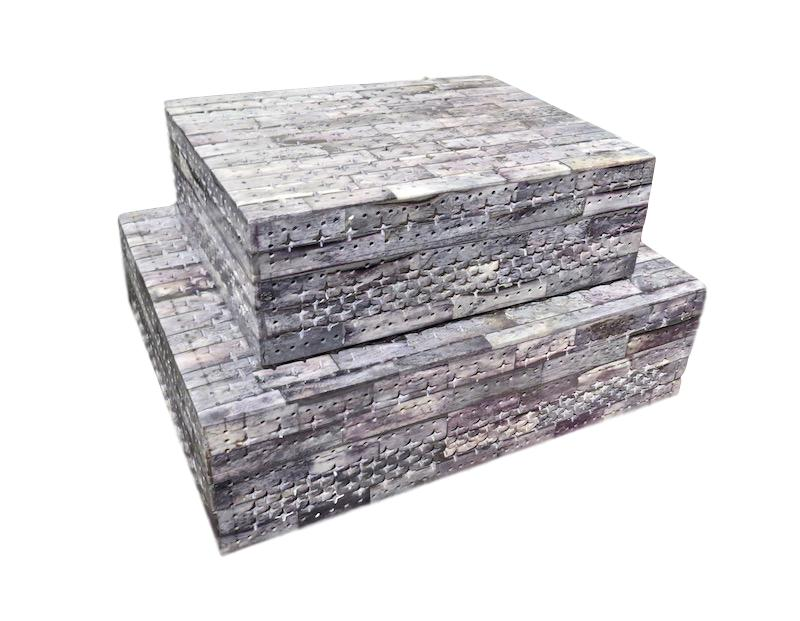 Grey Bone Filigree Box  9x7x3h  BIJ468S  Grey Bone Filigree Box  12x9x3.5h  BIJ468L