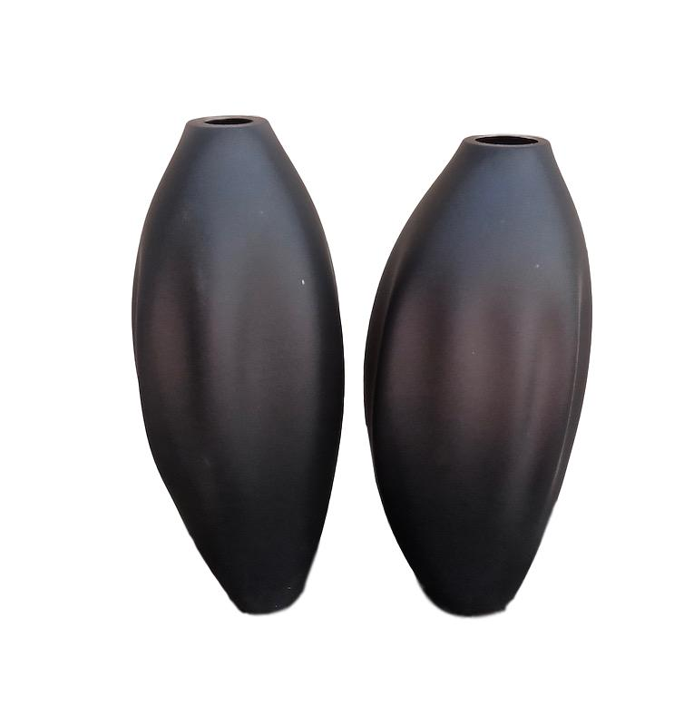 Drape Glass Vase Black Etched  10dx22h TS1763/4