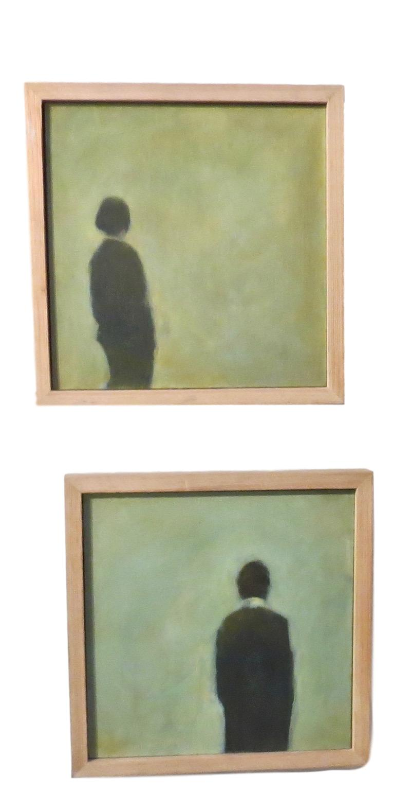 N. Crawford, Oil Board , 12x12 each  Solitary-Woman / Solitary-Man