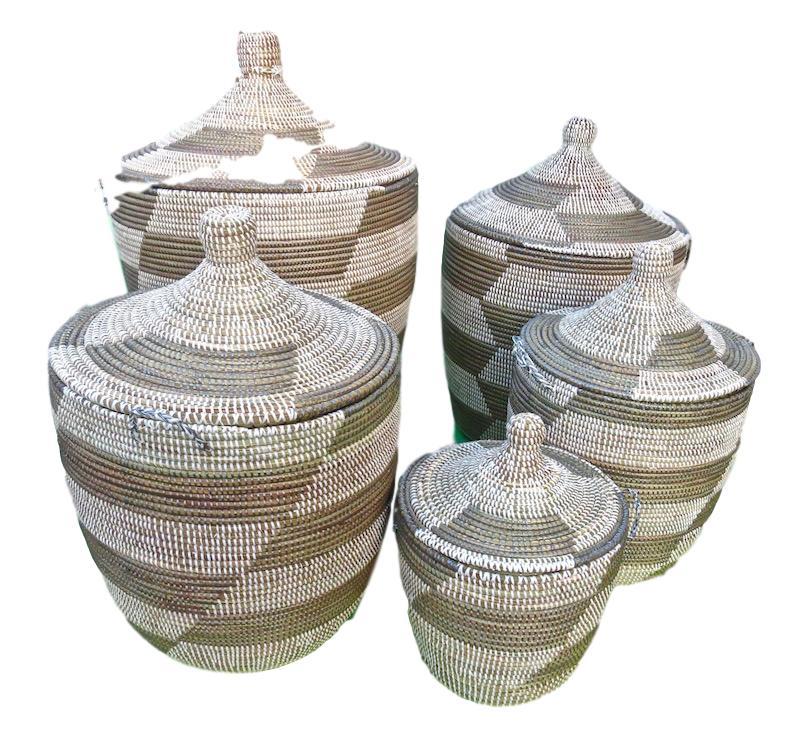 Handmade Woven Baskets w/Lids