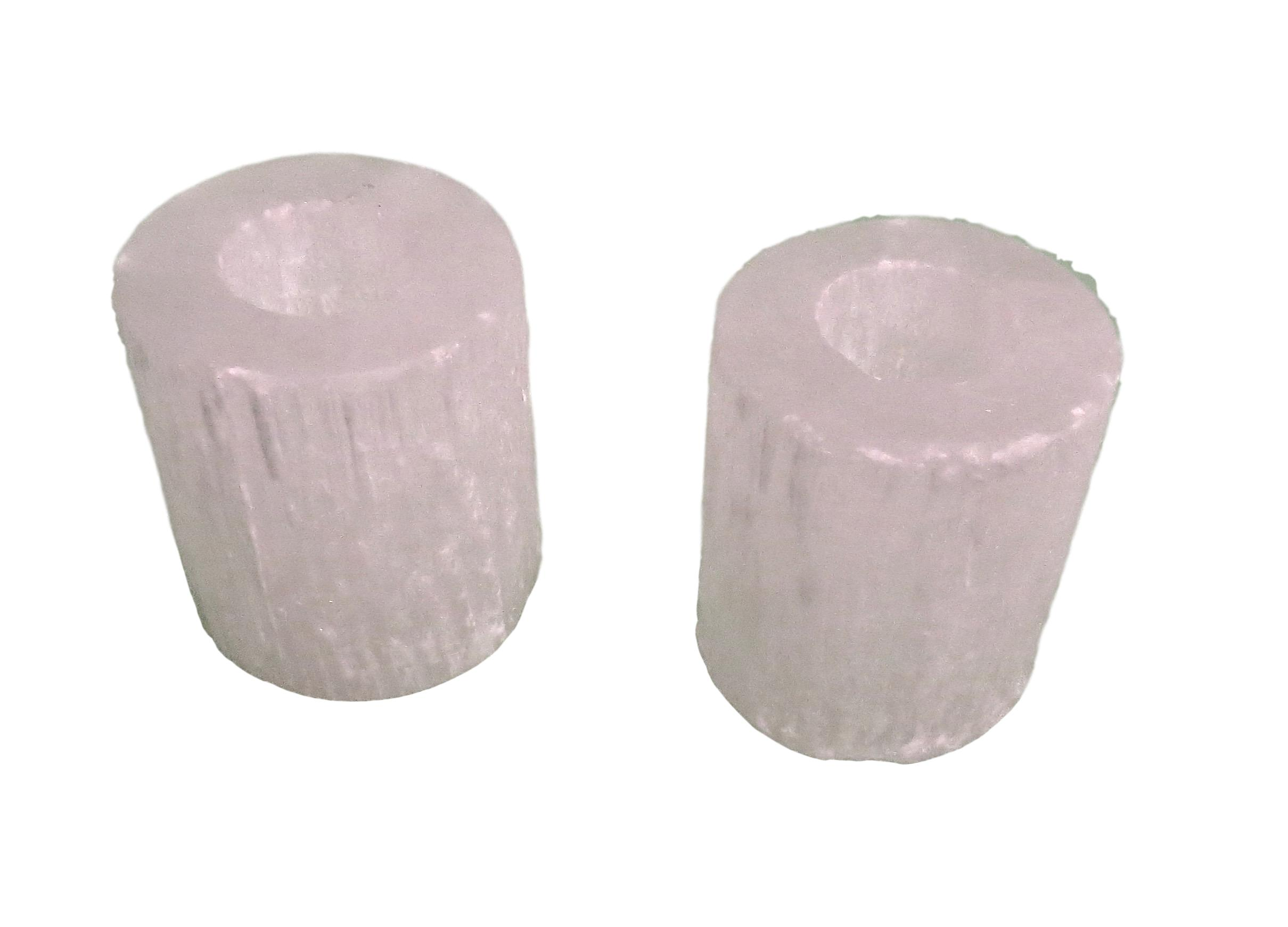Selenite Candle Holders  4dx4.5h VOCHS