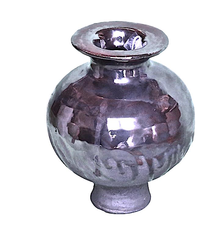 Tatiana, Virga Small Vase Platinum Glaze  5.75dx8.5h  TA21418.6