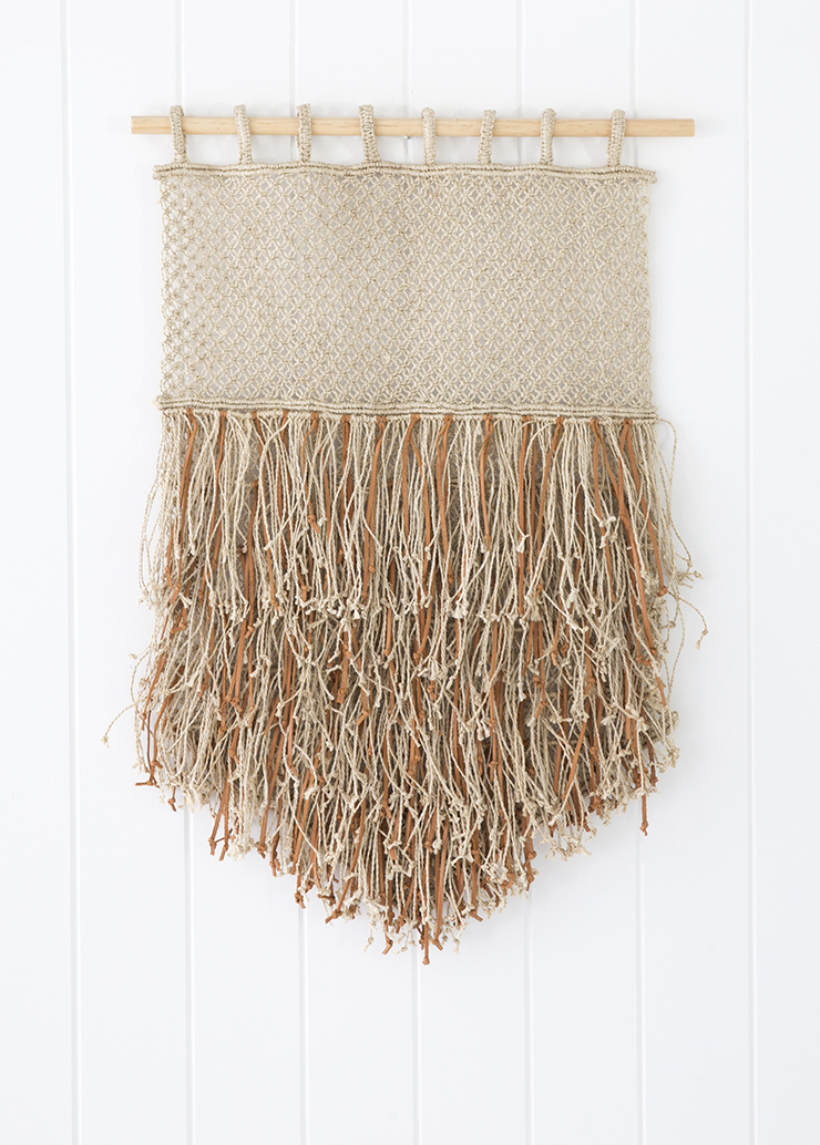 Wall Hanging - Jute & Leather Fringe  18x25.5h   DDRS026L
