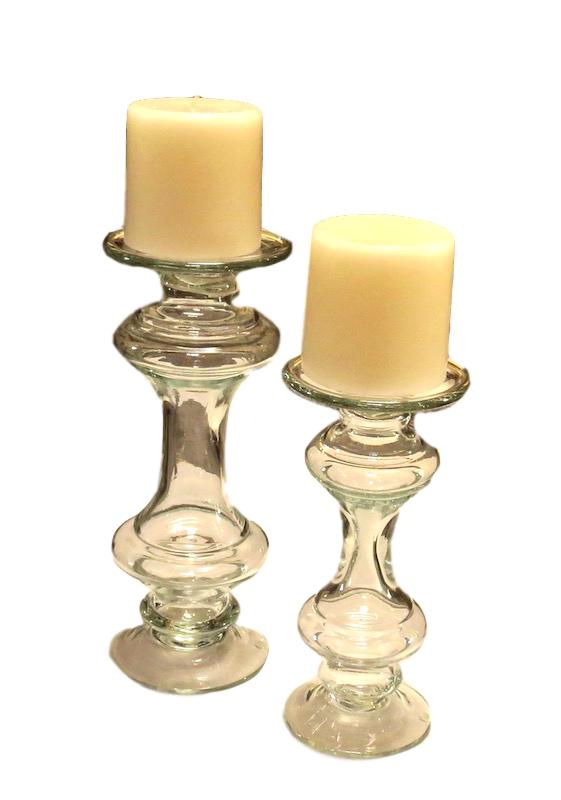 Large Clear Glass Candlestand   6dx14h   CD9995  5xx11h   CD9994