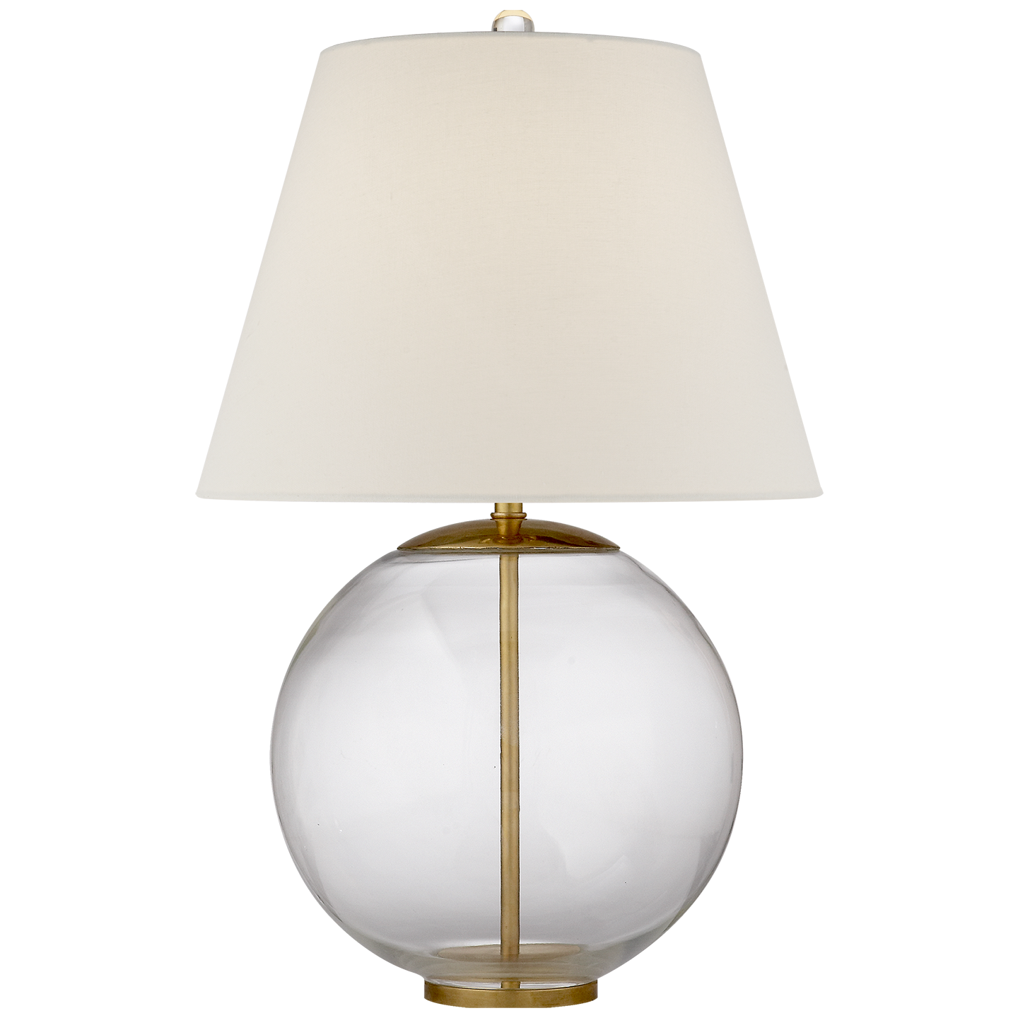 Table Lamp in Crystal with Linen Shade   16.5dx24h   VCARN3000CG-L