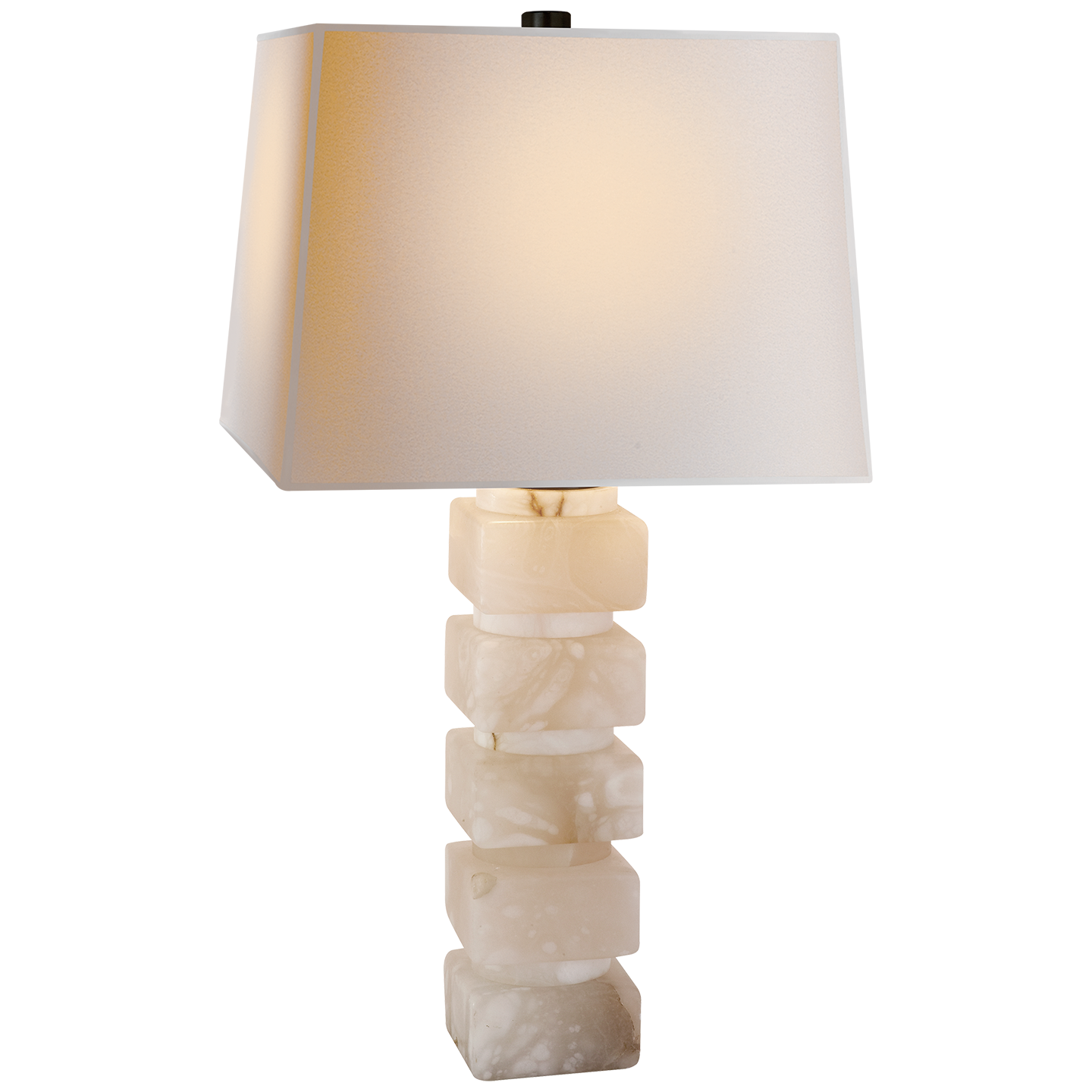 "Square Chunky Stacked Alabaster Table Lamp   16""sqx31""h   VCCHA8947ALB-NP"