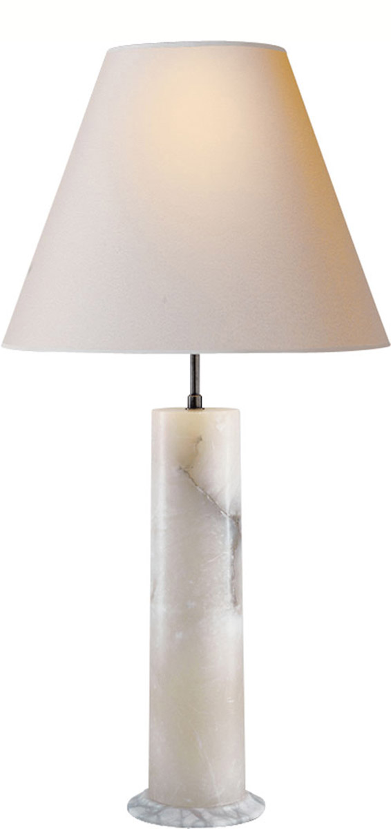 "London Alabaster Column Lamp w/Natural Paper Shade  19""dX38.25""h   VCTOB3011ALB-NP"