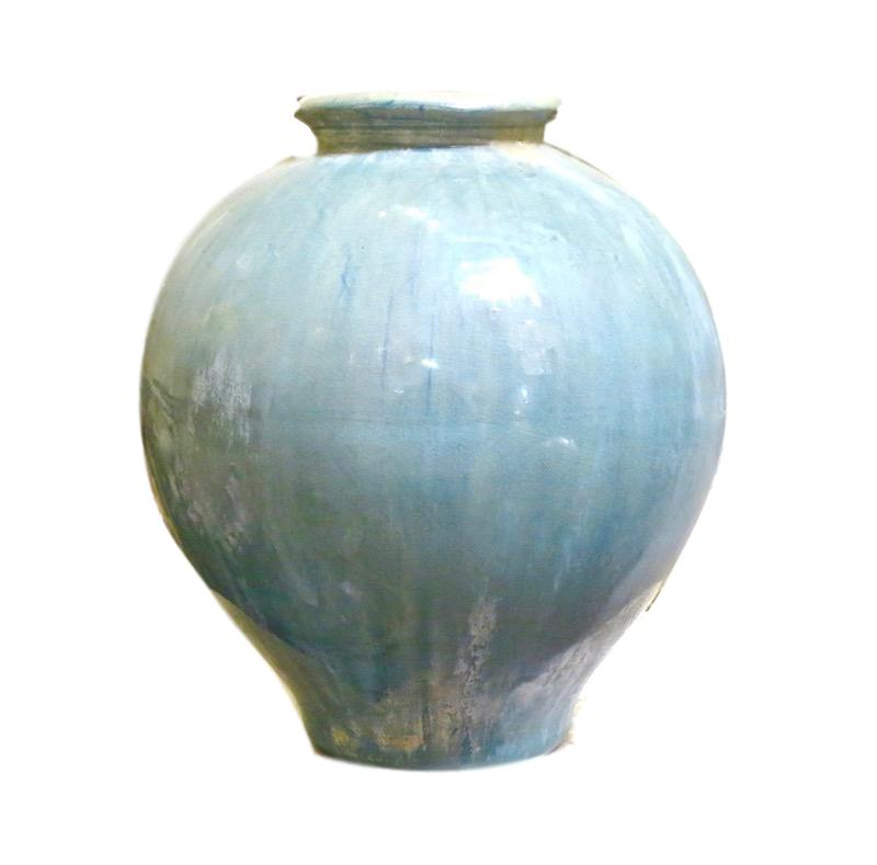 Aqua Ceramic Jar Small  9dx10h +/-  MI16167