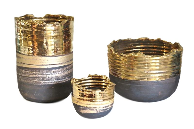 Tatiana, Relic Bowls - Black/24k Gold Glaze  7.5dx10h  TA0146  5dx4.5h TA0643  10dx7h  TA0083