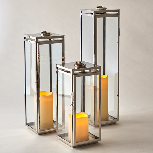 Bungalow Lantern, Stainless, Polished Nickel  7x24h  CT814814  7x30h  CT814815