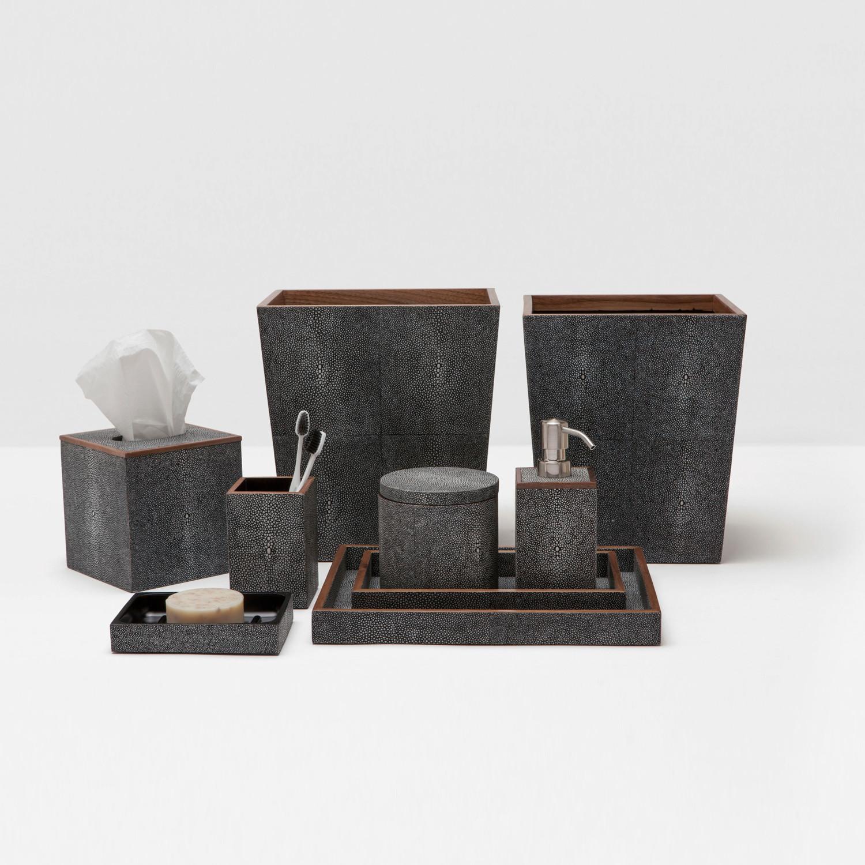 Faux Shagreen Bath Accessories in Grey  Tissue Box - 5.5SQ x 5.75H PGMANTBG  Square Waste Basket - 9SQ x 10.75H PGMANWBG  Soap Pump - 3SQ x 7H PGMANSPG