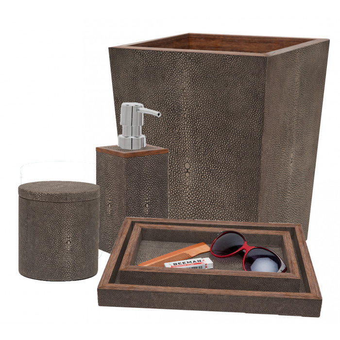 Faux Shagreen Bath Accessories in Mushroom  Tissue Box - 5.5SQ x 5.75H  PGMANTBM  Square Waste Basket - 9SQ x 10.75H   PGMANWBM  Soap Pump - 3SQ x 7H   PGMANSPM