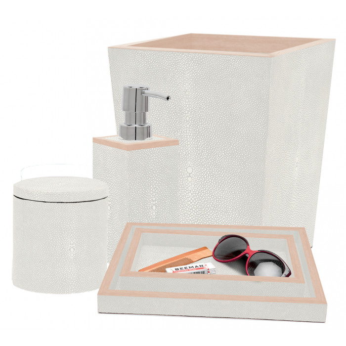 Faux Shagreen Bath Accessories in Ivory  Tissue Box - 5.5SQ x 5.75H PGMANTBI  Square Waste Basket - 9SQ x 10.75H PGMANWBI  Soap Pump - 3SQ x 7H PGMANSPI