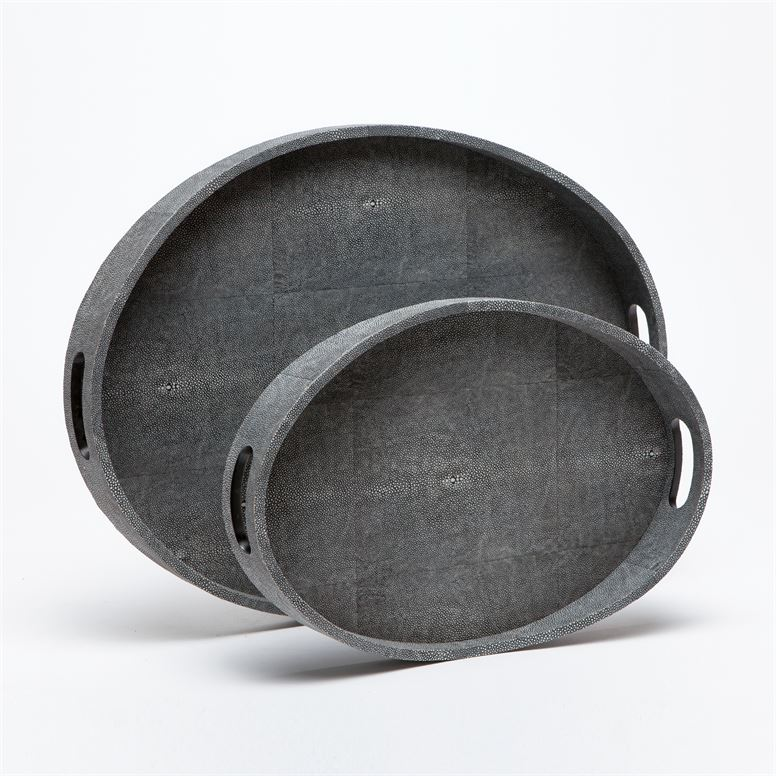Oval Faux Shagreen Tray, Grey  24x18x2h  MGlOGANGL  18x12x2h  MGLOGANGS