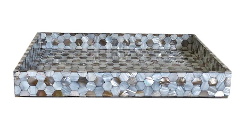 Mother of Pearl Honeycomb Tray   14x18x2.5h   GV2631  18x28x2.5h   GV2630