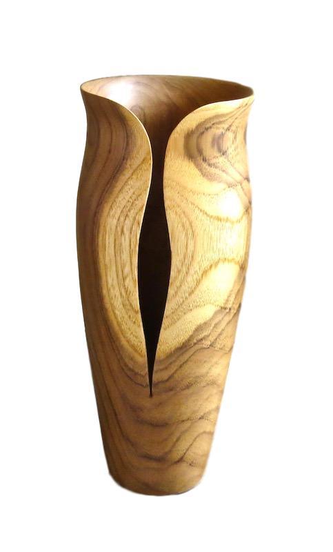 Teak Wood Livia Vase   5.5dx14.5h  BUTLV