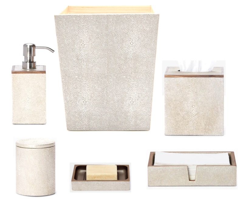 Manchester Faux Shagreen Bath Accessories, Warm Silver  Soap Pump PGMANSPWS, Tapered Square Wastebasket PGMANWBWS, Tissue PGMANTBWS, Towel Tray PGMANTTRWS