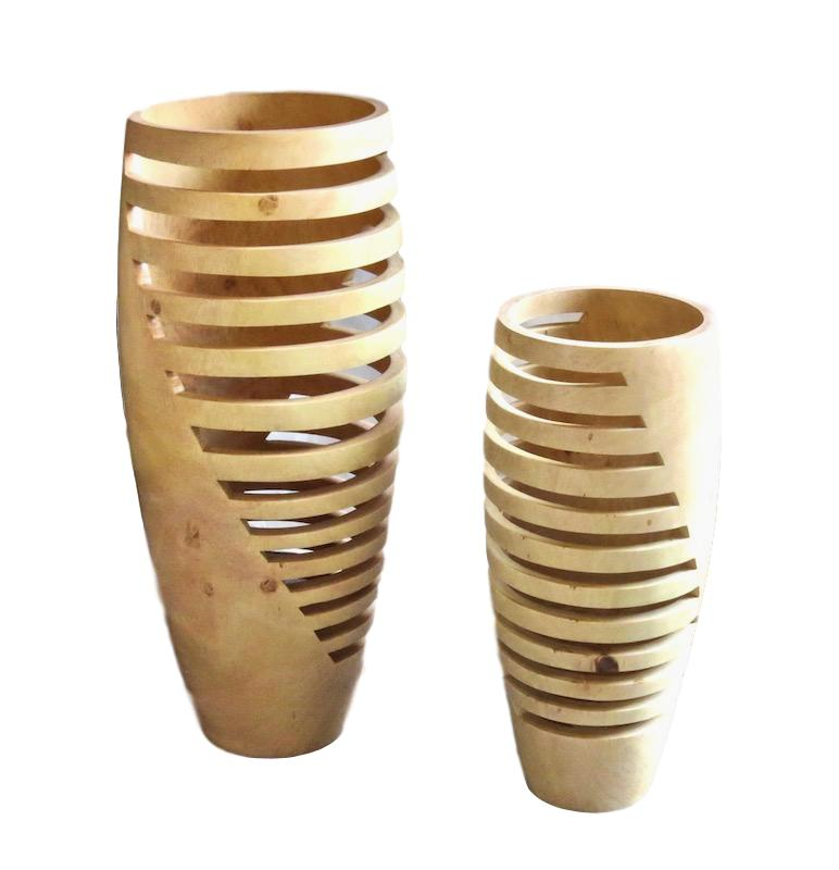 Tamarind Metropolis Cut Out Vase Natural  6dx16h   BUIMVL  5dx12h   BUIMVS