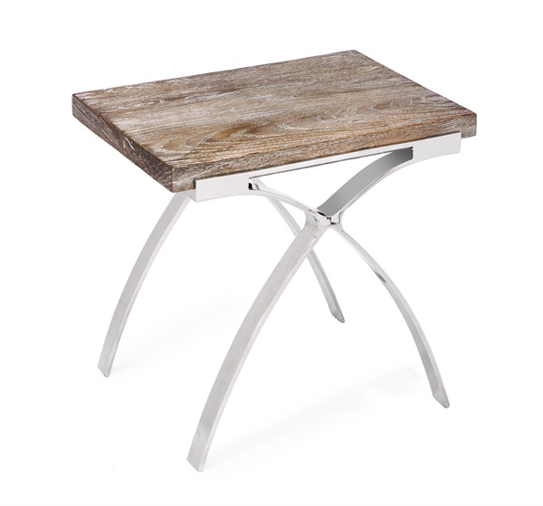 Greyed Oak/Stainless Steel Side Table   24x18x23h  IH159034