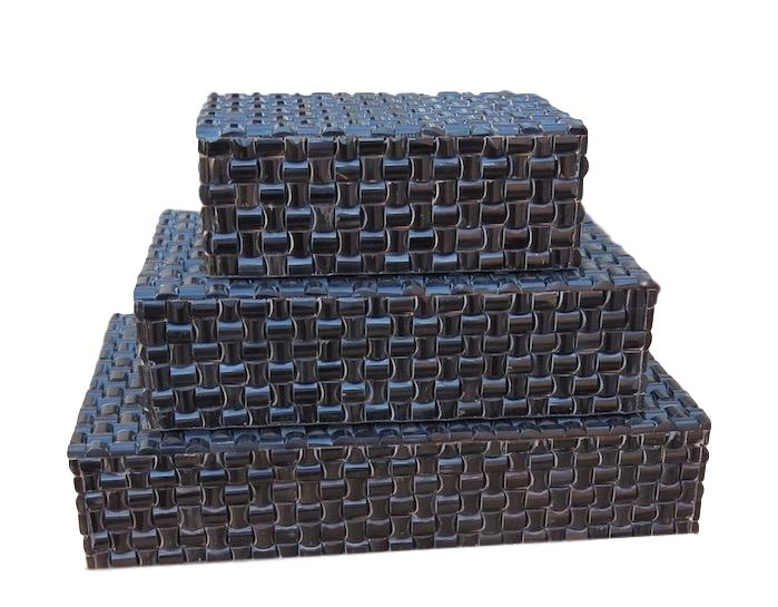 Small Tile Black Horn Box   Large 14.5x9.5x3h   BIR313L  Medium 11.5x7.5x3h   BIR313M  Small 8x5x3h   BIR313S