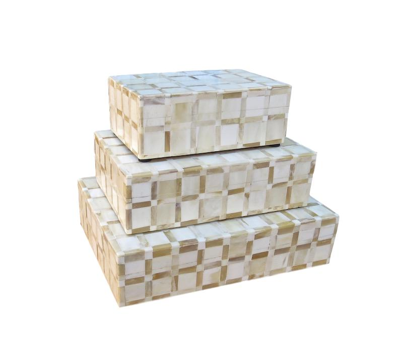 Bone/Horn Square Inlay Box   Large 12x9x3h   BIJ730L  Medium 10x7x3h    BIJ730M  Small 7x5x2h   BIJ730S