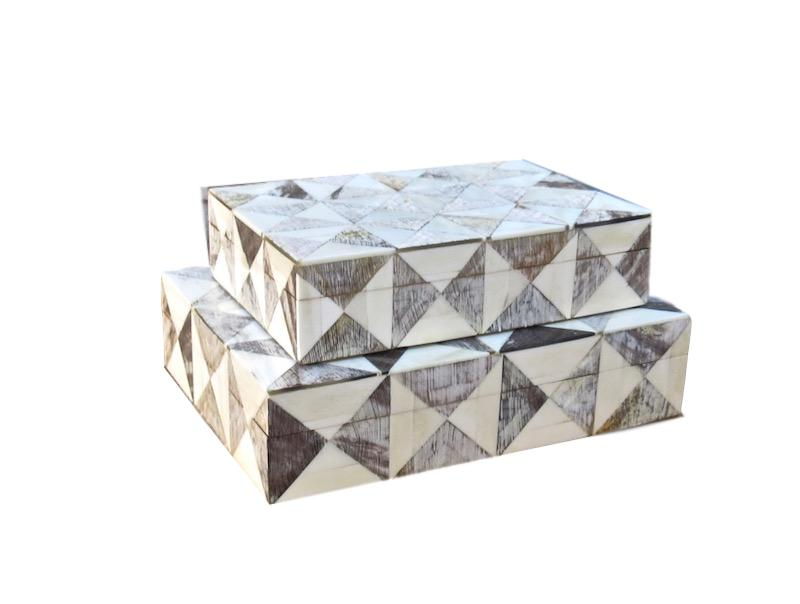 Bone/Horn Triangle Pattern Box   Large 12x9x3h   BIR832  Small 10x7x2.5h   BIR833