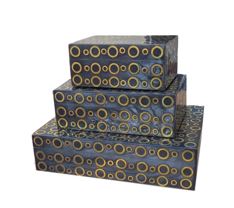 Black Resin/Brass Rings Box   Large 12x9x3h   BIU62L  Medium 9x6x3h    BIU62M  Small 7x5x3h    BIU62S