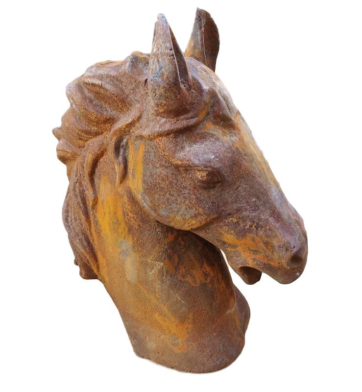Rusted Iron Horse Head   13x7x19h     BO878