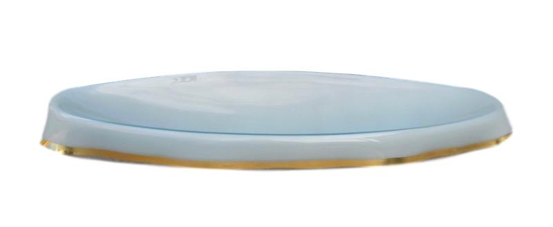 Oval Draped Glass Bowl Mint/Gold   32x13x5h  KDOMG36