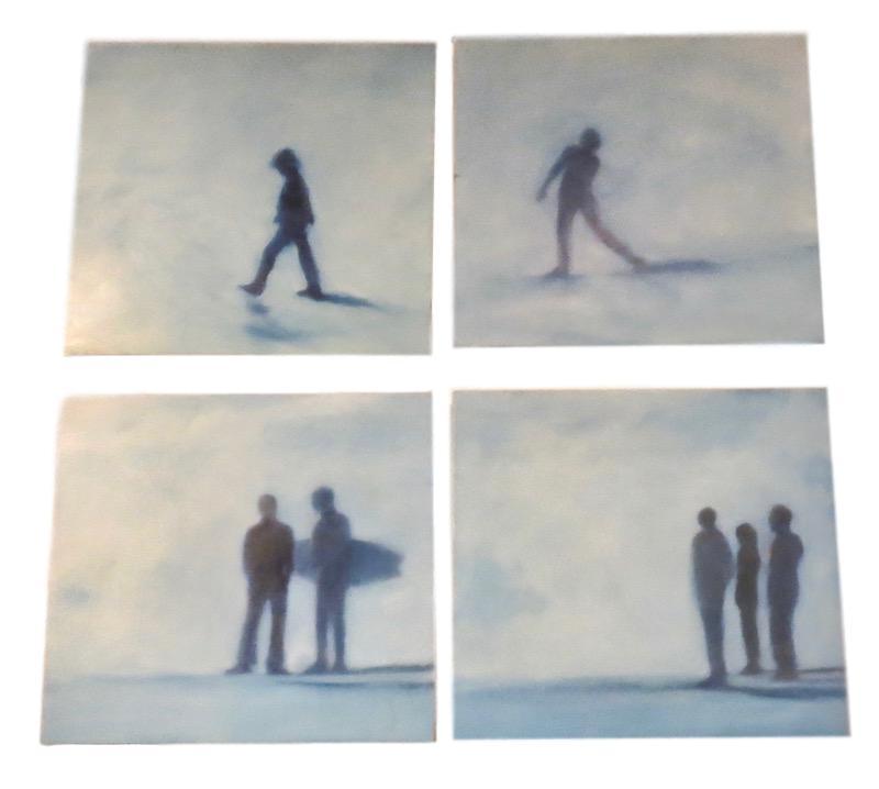 "Nancy Crawford, ""Boys on the Beach"" series, Oil on Board  21x19x1.5"
