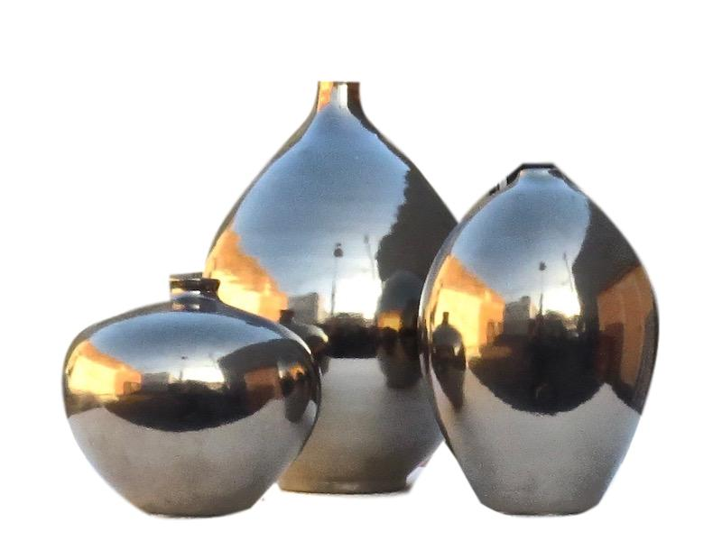 Ceramic Zaragossa Vase 5.5dx5h +/- Platinum EUHV121P  Ceramic Geneve Vase 8dx10.5h +/- Platinum EUHV118P  Ceramic Bilbao Vase 5.5dx7.5h +/- Platinum EUHV120P