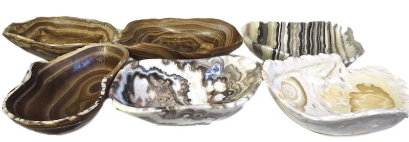 Brown Onyx Small Bowl 8x6x2h   MX044  Zebra Onyx Small Bowl 8x6x2h   MX048