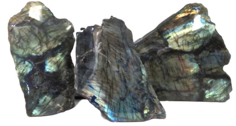 Labradorite 1 Side Polished   5x3x9   FOS177  9x3x8h   FOS178   6x2x8h   FOS184