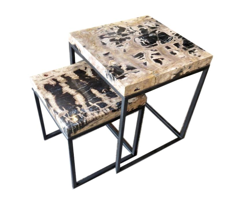 Petrified Wood Nesting Tables, Natural and Black  Large Table 19.5x19.5x24h  Small Table 15.5x15.5x18h  VO179