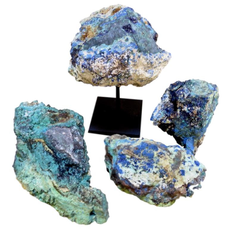 "Azurite/Malachite  Assorted sizes 4"" - 10"" long  FOS023-FOS029  On Iron Stand 6x5x9  FOS022"