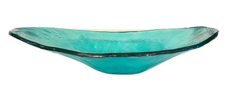Deep Canoe Glass Bowl in Blue   28x17x8h +/-  RL181BL
