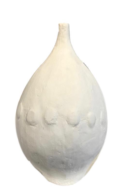 Hand Cast Plaster Vase Matte White   11dx19h  GVAC7.70007