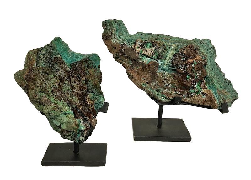 Azurite/Malachite on Iron Stand   5x2x8.5h   FOS026AA  10x3x8.5h   FOS028AA