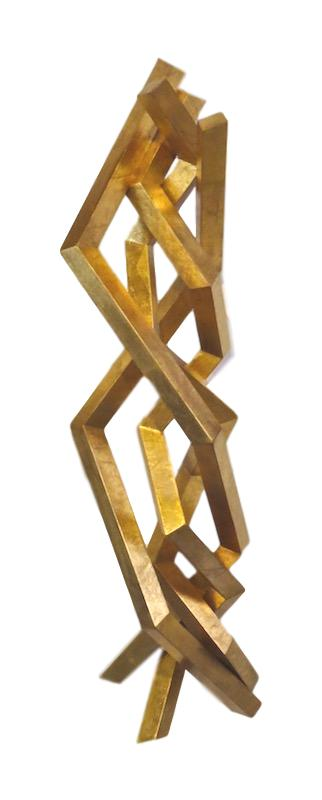 Sergio lopomo, Small Wood Wall Sculpture, Gold   9.5x11x41h  RLFT253GS