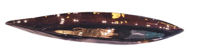 Glass Nave Bowl, Eggplant  36x11x2.5h  RL533EP