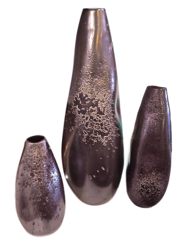 Ceramic Vase w/Reactive Graphite Glaze   Large 7dx21h   GV7.10249  Medium 5dx13.5h   GV7.10195  Small 5dx10h   GV7.10196