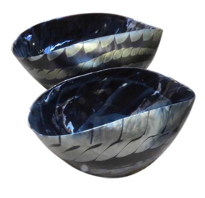 Murano Black/Silver Folded Glass Centerpiece   Large 25x16x12h   GV3.31462  Small 17x12x10h   GV3.31463