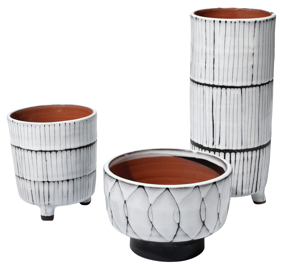 Tall Glazed Terra Cotta Pot White/Black Line   Large   5dx12h  Medium   5dx6h  Small   6.5dx5h
