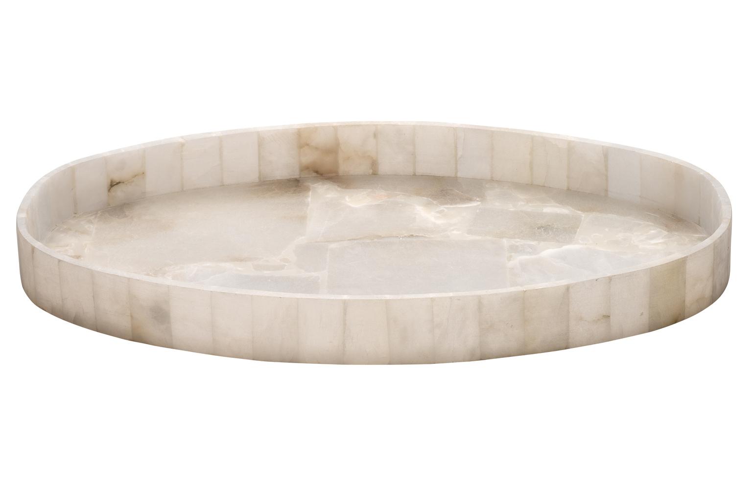 Oval Alabaster Tray   20x12x2h  JYALATRL