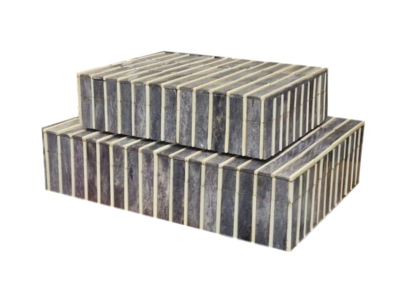 Grey/Raised Natural Stripe Bone Box  Large   12x9x3h   BIU267L  Medium   9x7x2.5h   BIU267M