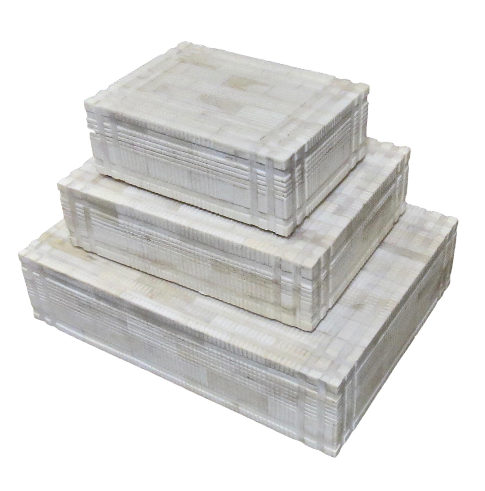 Carved Bone Box   Large   12x9x2.5h   BIU266L  Medium   9x7x2.5h   BIU266M  Small   7x5x2.5h   BIU266S